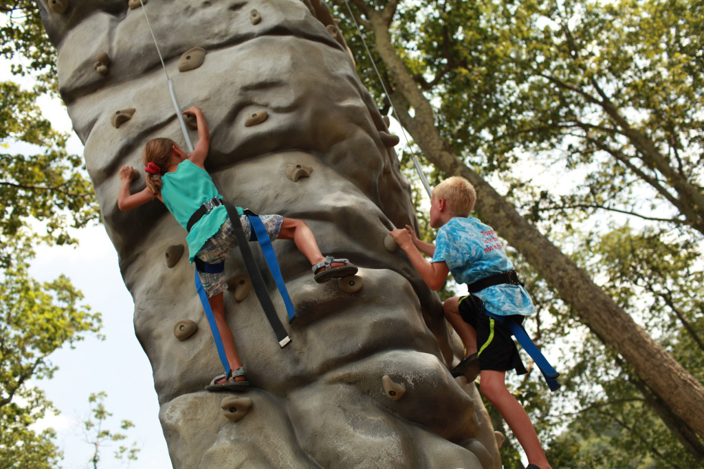 Rock wall with kids at Wintergreen Resort