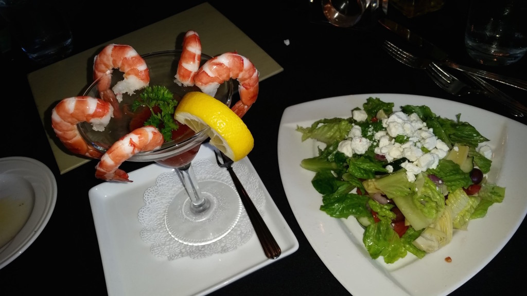 Shrimp coctail and salad at Wintergreen Resort