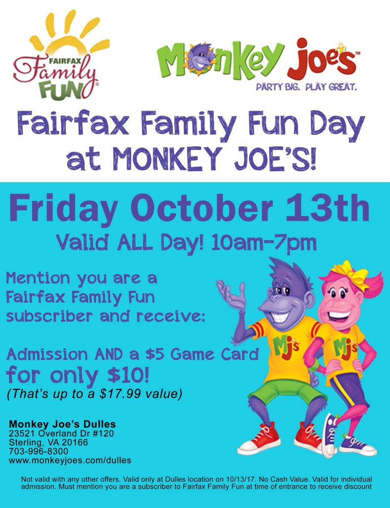 Flyer for special Fairfax Family Fun Day at Monkey Joe's Dulles
