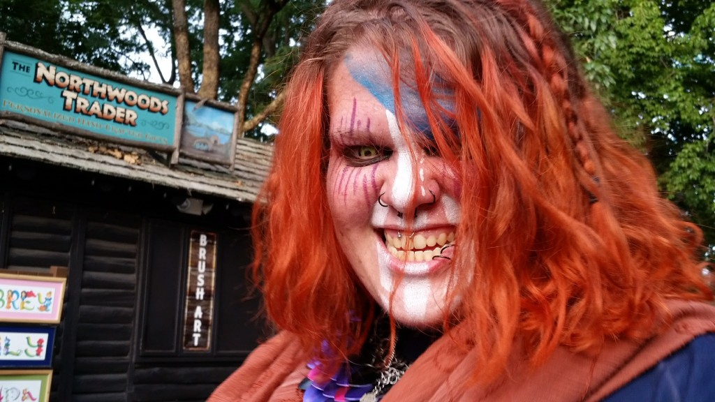 Busch Gardens Williamsburg Howl-O-Scream woman dressed like a viking zombie