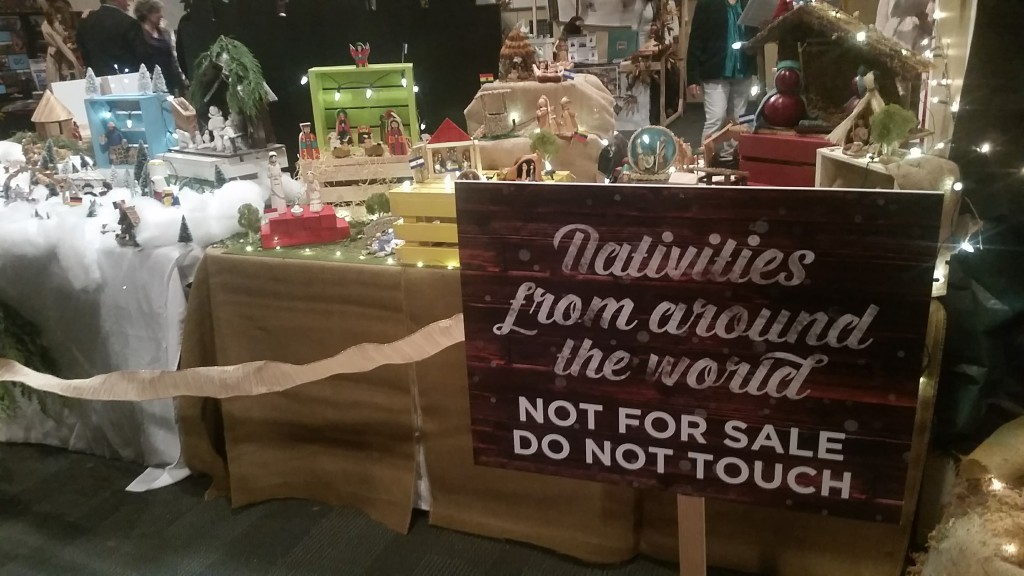 Sign for international nativity display at Christmas Village at McLean Bible Church