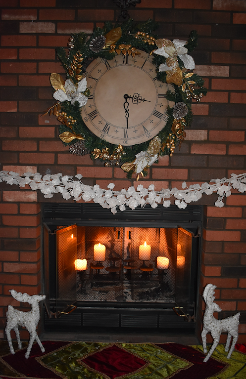fireplace Christmas with At Home decor