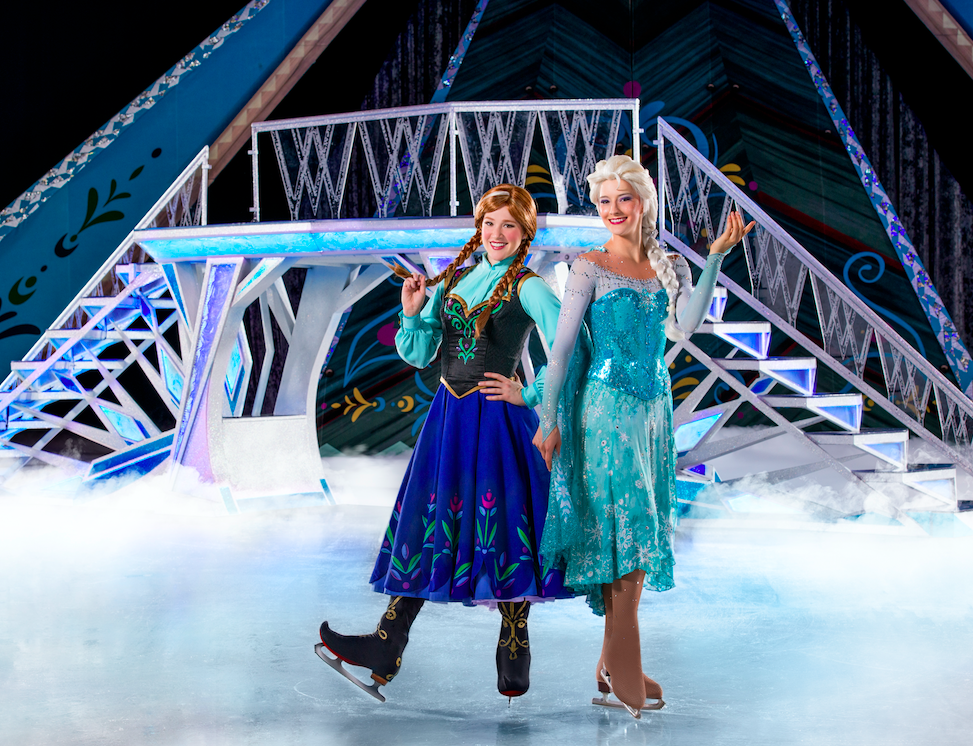 Anna and Elsa on the ice for Disney on Ice presents Frozen