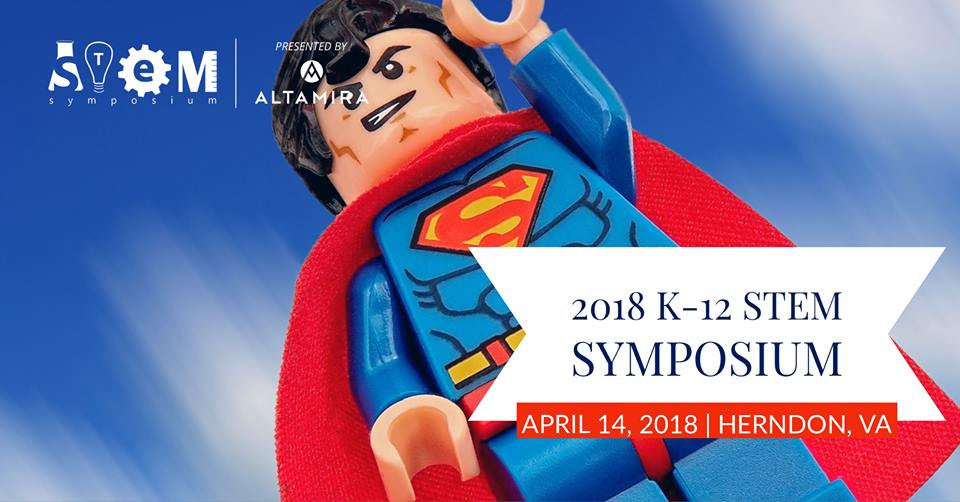 K-12 STEM Symposium logo with superhero figurine