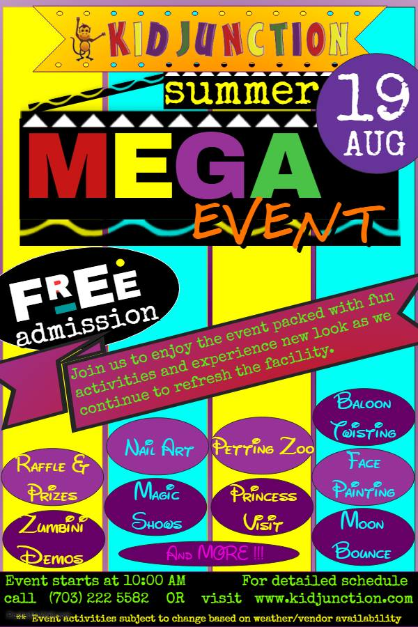 Kid Junction Chantilly mega event flyer