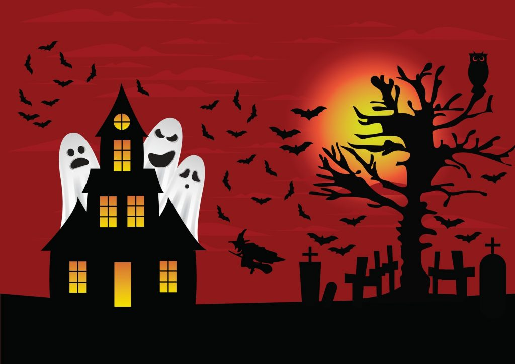 Halloween image of haunted house cartoon with ghosts
