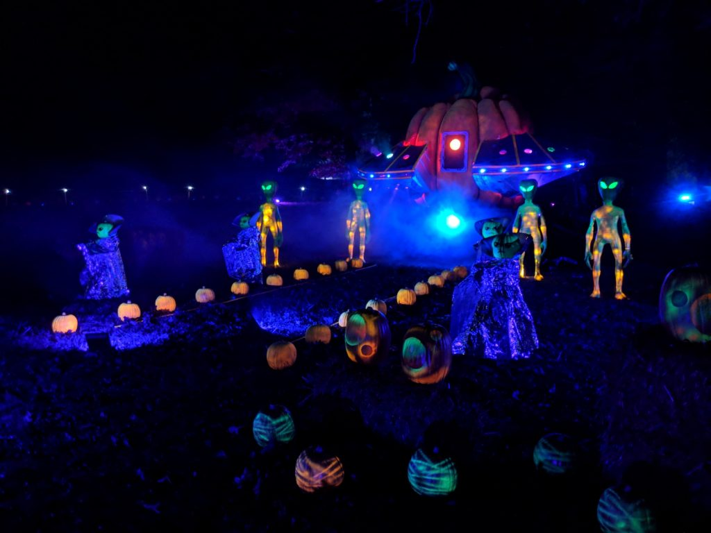 The Glow jack-o-lantern alien scene at Lake Fairfax Park
