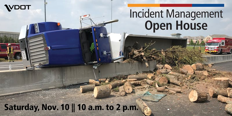 graphic of overturned truck on a highway for VDOT Incident Management Open House