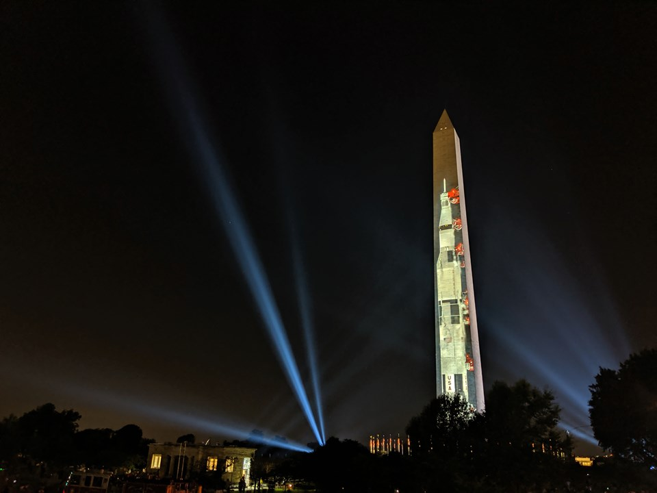 Reflection of the Apollo 11 Saturn V rocket on the Washington Monument on the National Mall