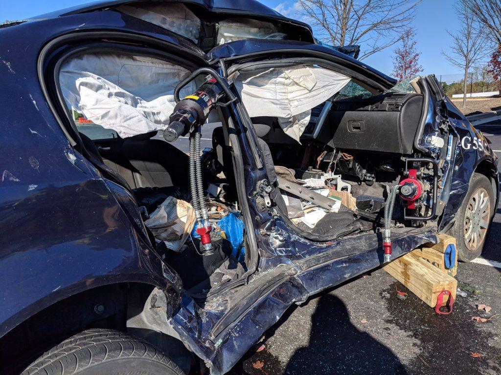 crashed car at VDOT Incident management open house