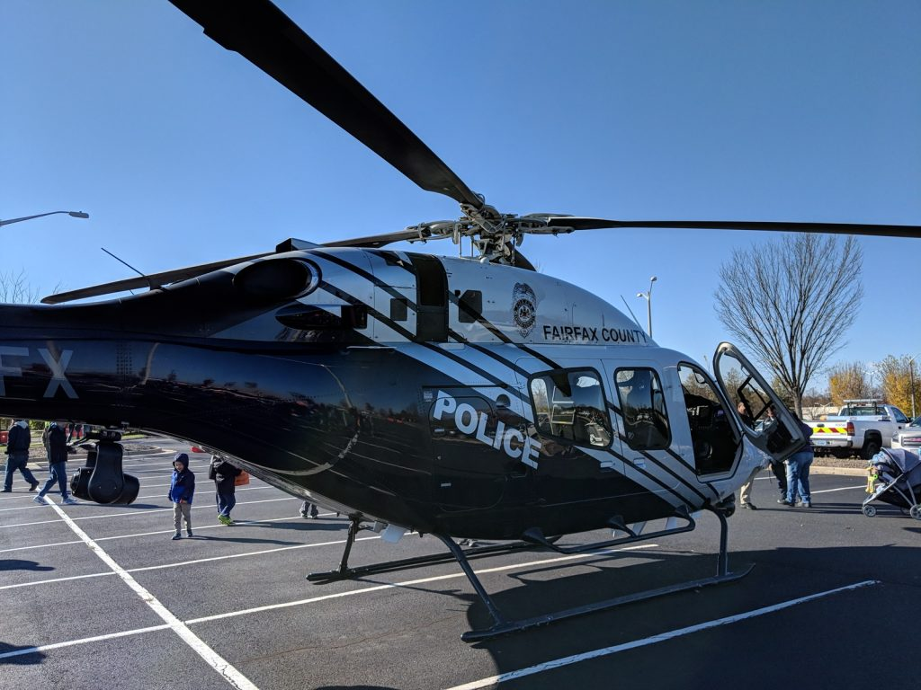 Fairfax County police helicopter at VDOT Incident management open house