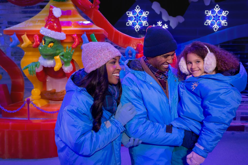 Family with children in their blue parkas at Christmas on the Potomac ICE! Gaylord National