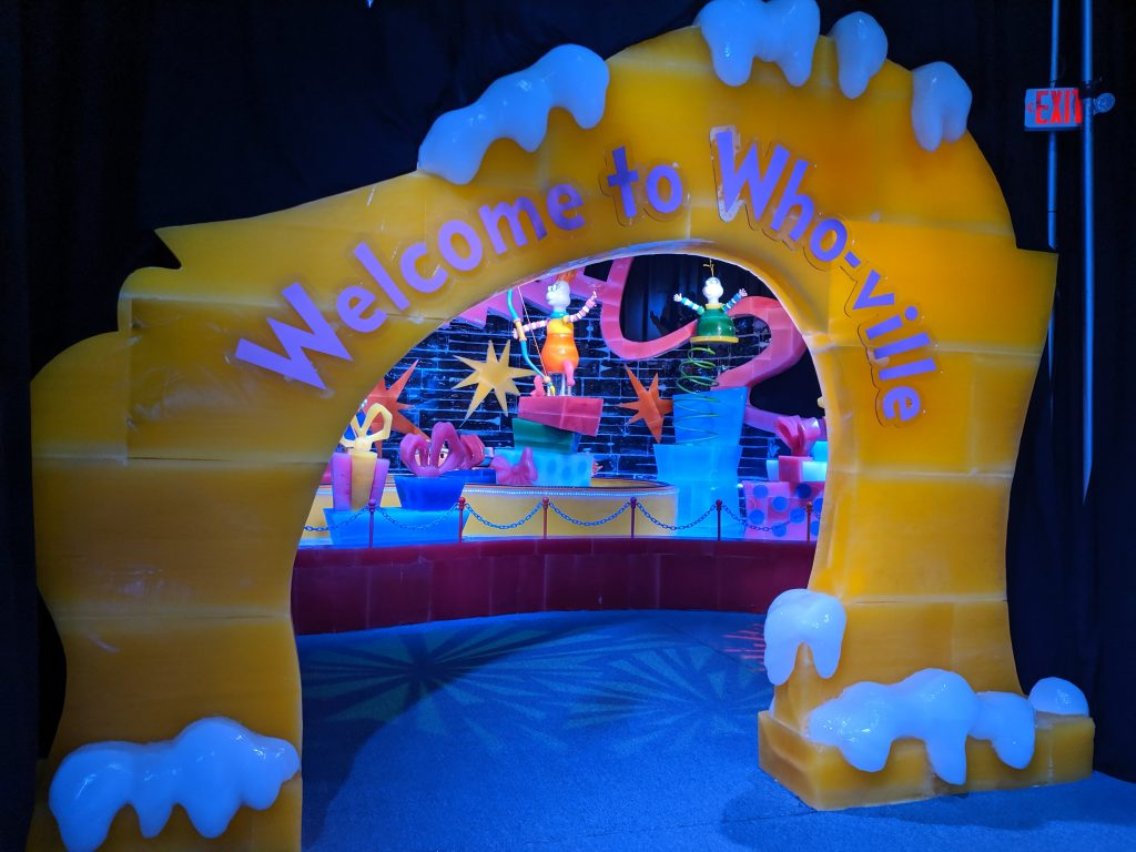 Whoville entrance made of ice at Gaylord National ICE Christmas on the Potomac