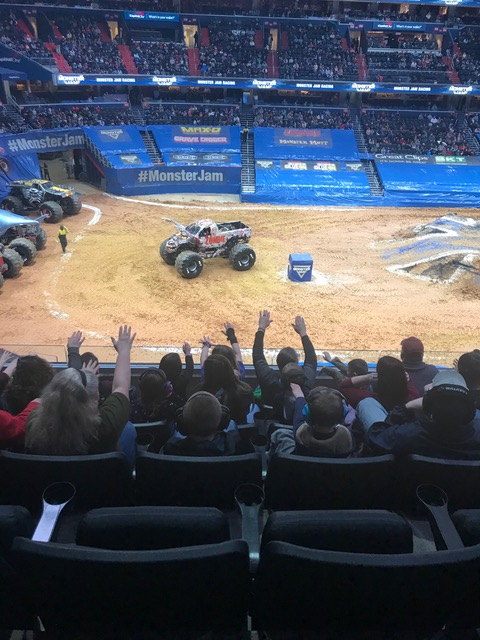 Fans greet Zombie monster truck at the 2020 Monster Jam competition at Capital One Arena