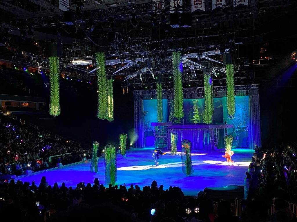 Scene from a Disney on Ice show with multiple characters, Celebrate Memories show in DC 2020