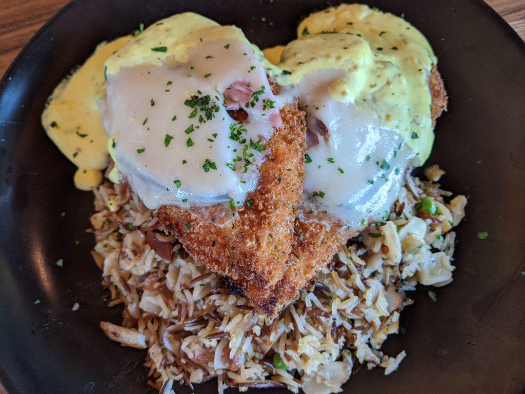 Chicken cordon bleu and wild rice at Lazy Dog Restaurant