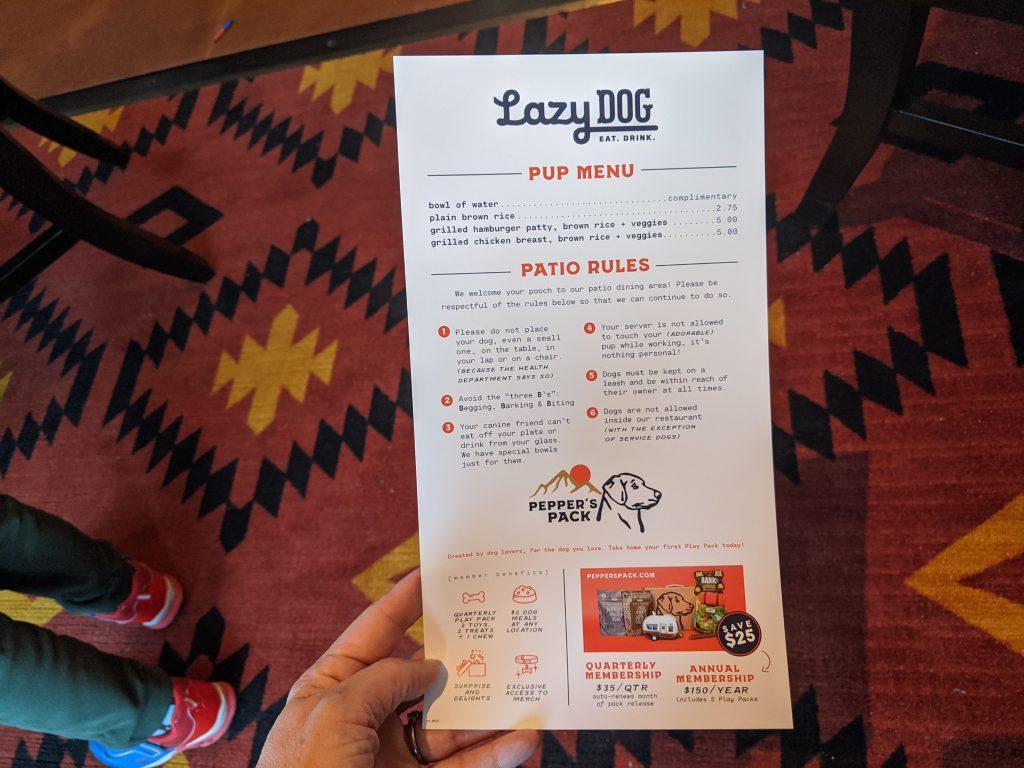 Pup menu at Lazy Dog Restaurant