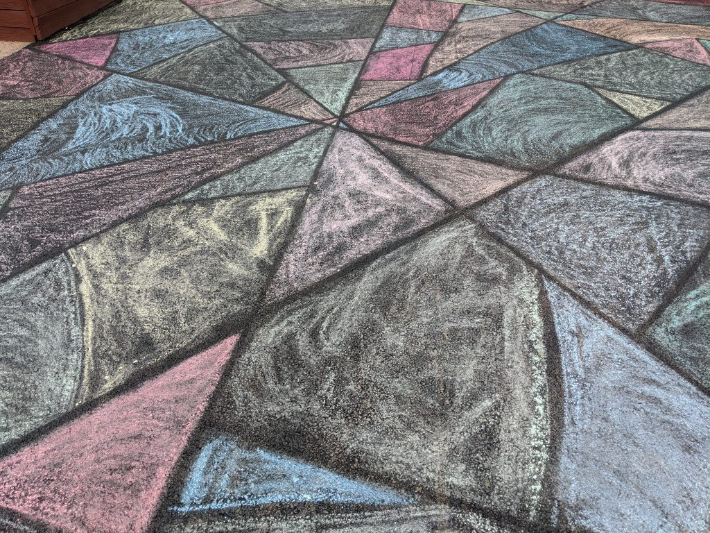 chalk drawing mosaic on a driveway, fun family activity during coronavirus shelter in place