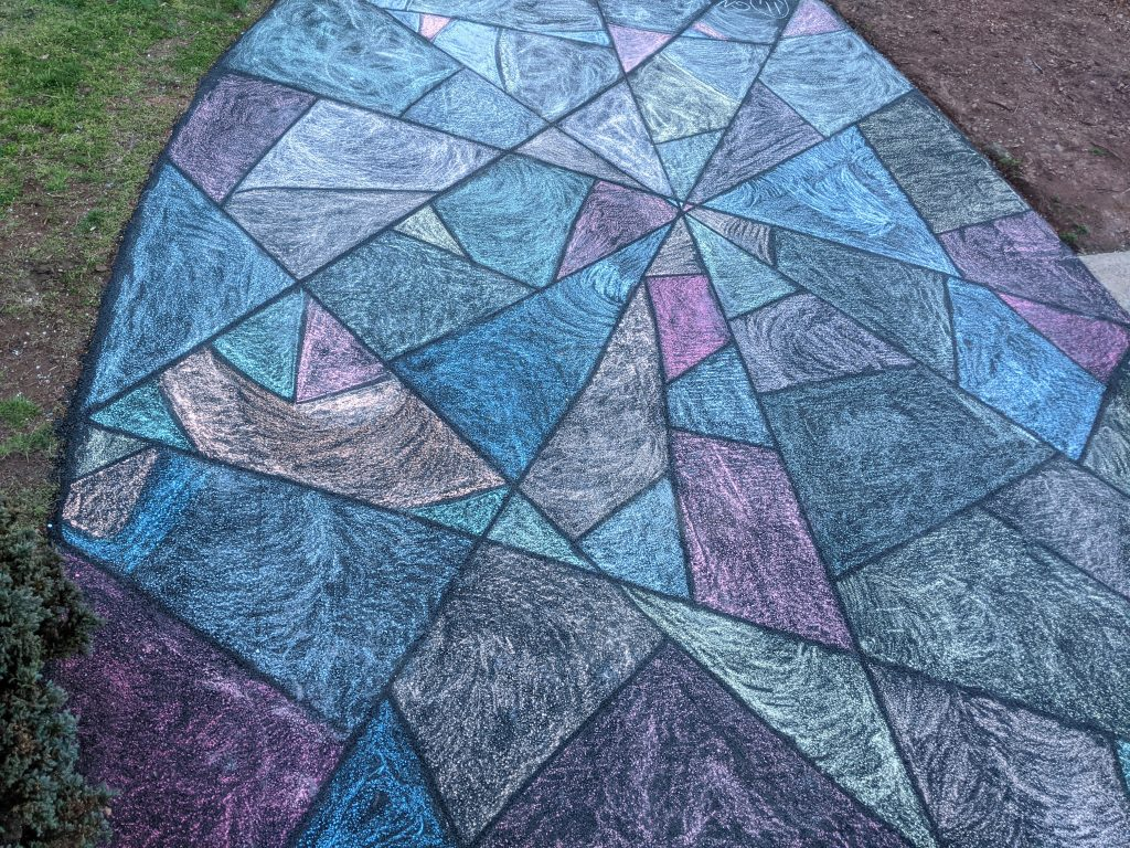 chalk your walk, chalk drawing mosaic on a driveway, fun family activity during coronavirus shelter in place