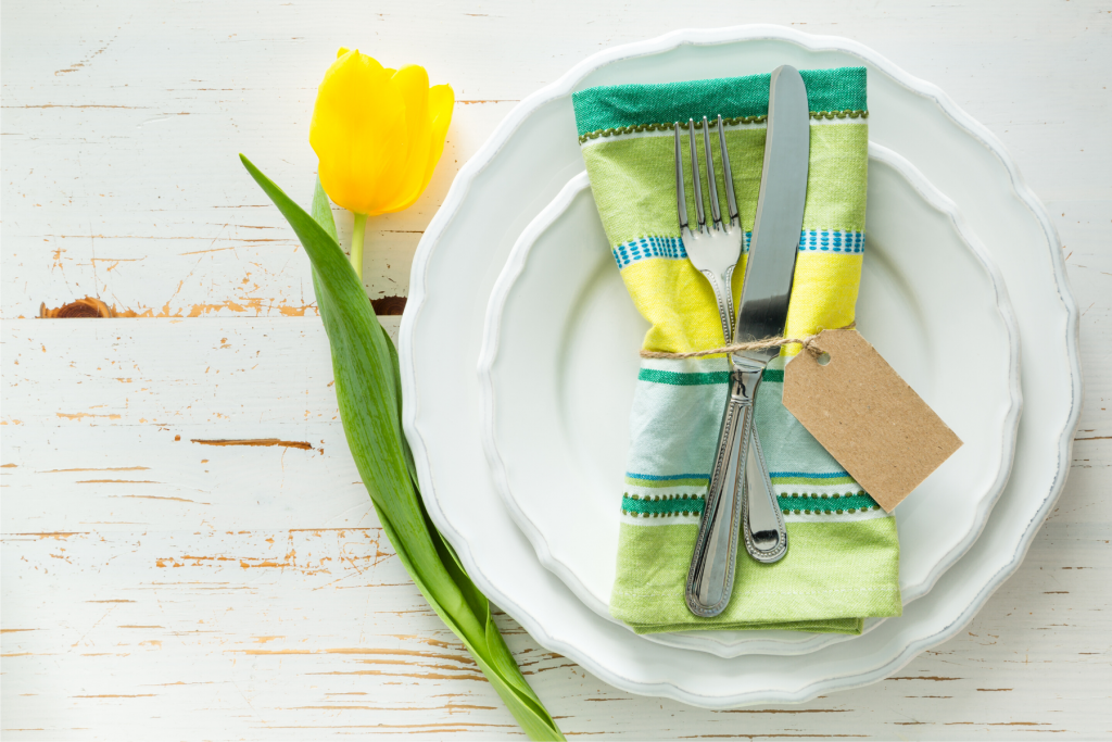 yellow tulip and place setting for Easter, Easter meals in Northern Virginia