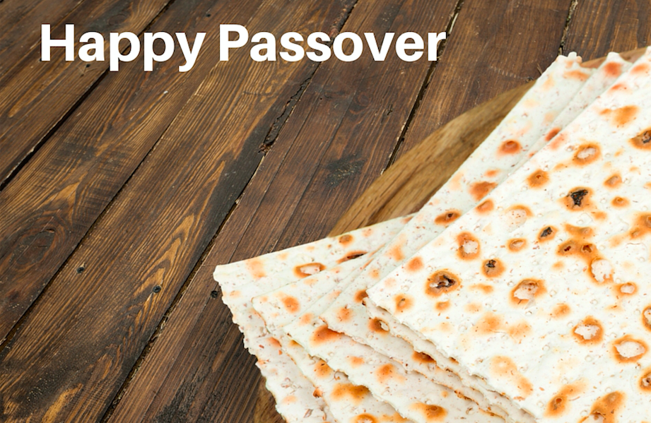Photo of matzo with a Happy Passover text