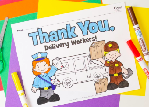 coloring page thanking delivery workers