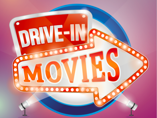 graphic with red illuminated drive-in movie sign and spotlights to depict drive-in theatre