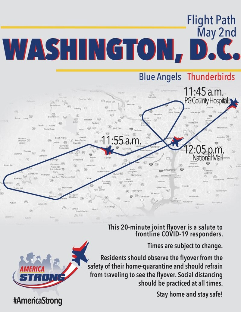 Route map of Blue Angels Thunderbirds flyover