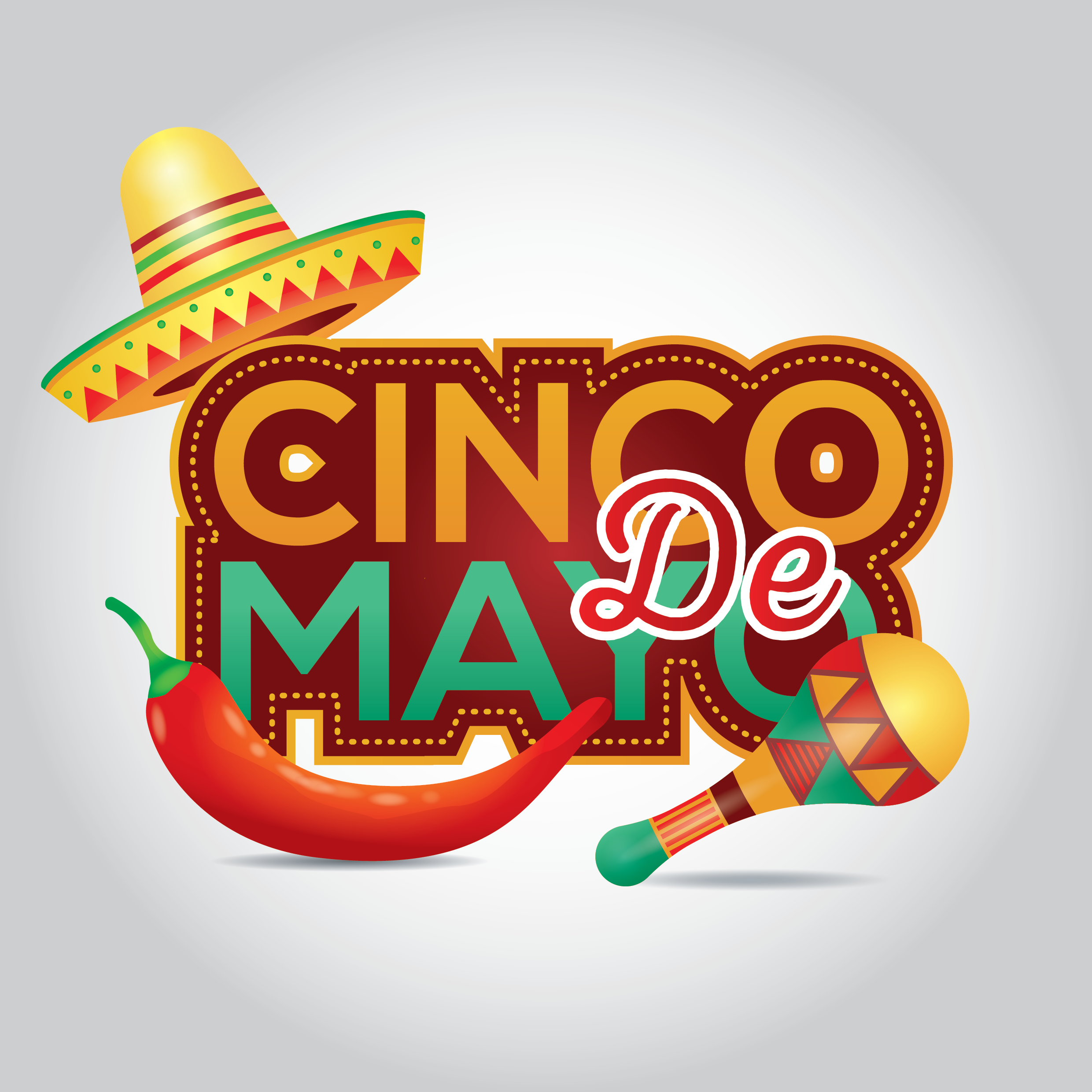 cinco de mayo graphic with maracas, a pepper, and a Mexican hat; ideas for celebrating cinco de mayo at home