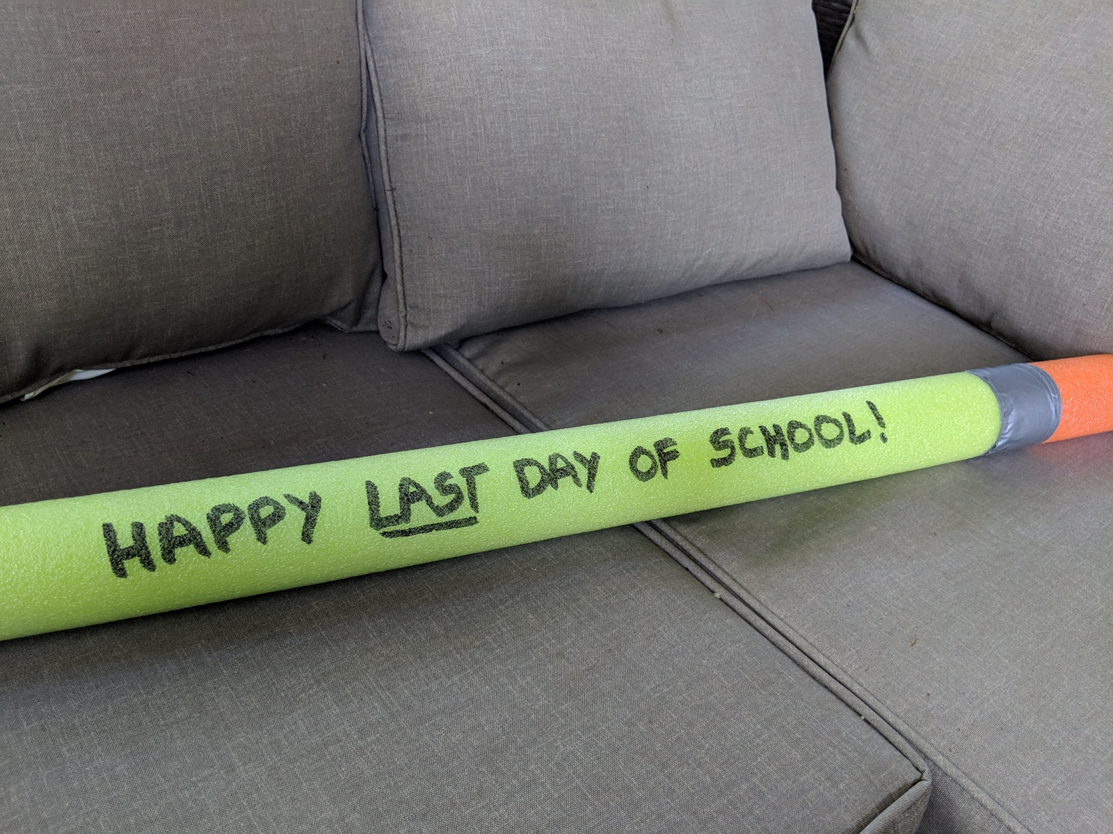 prop for school photos giant foam pencil made from a pool noodle